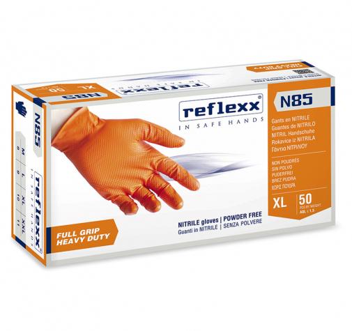 Сверхпрочные нитриловые перчатки оранжевые Reflexx N85-XL