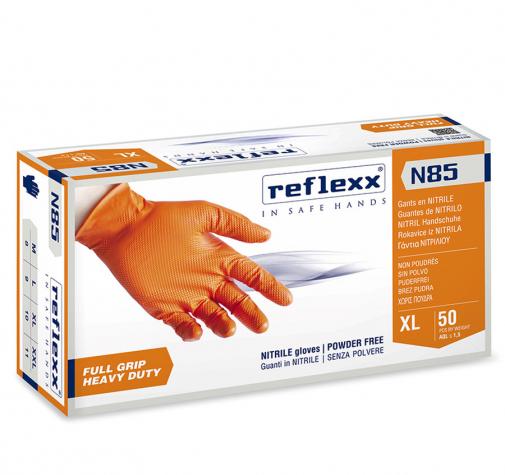Сверхпрочные нитриловые перчатки оранжевые Reflexx N85-L