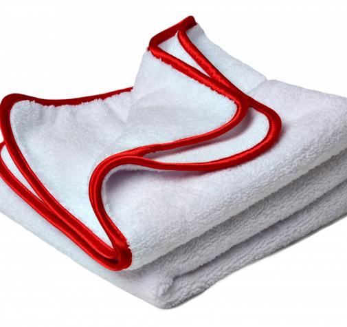 Двустороннее белое полотенце для располировки из микрофибры 350g/M²  40x40см  (2 шт. в наборе