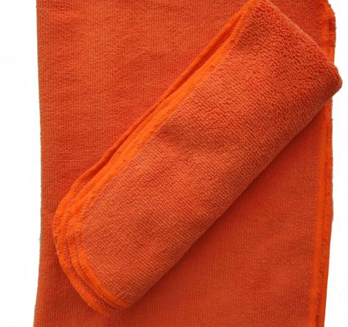 Микрофибра для сушки оранжевая с оверлоком 280 гр/см 50х70 см.