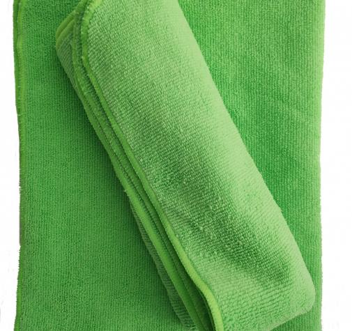 Микрофибра для сушки зеленая с оверлоком 280 гр/см 50х70 см.