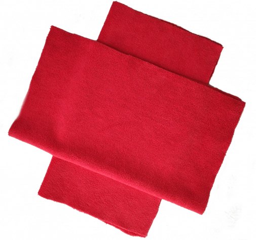 Микрофибра с коротким ворсом красная с УЗ обрезкой 460 гр/см 35х40 см