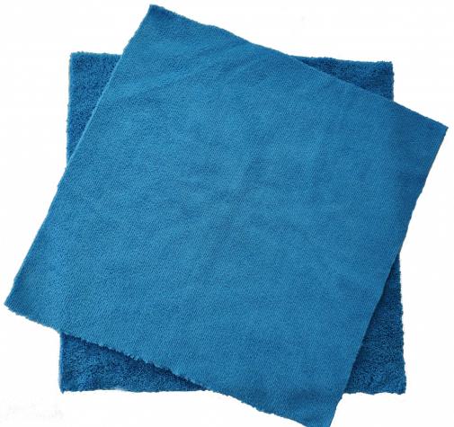 Микрофибра двухсторонняя синяя с УЗ обрезкой 320 гр/см 40х40 см