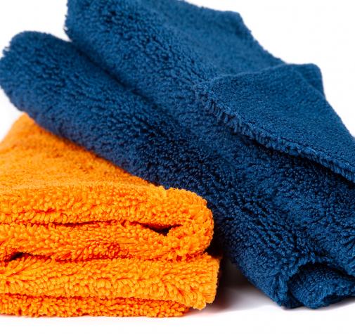 Полотенце микрофибровое оранжевоетемно-синее 40x40 с УЗ обрезкой 400гр набор 2 шт