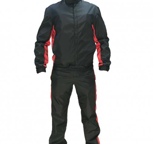 Костюм мужской (куртка, полукомбинезон) Silver, цв.черный/красный. 44-46/170-176