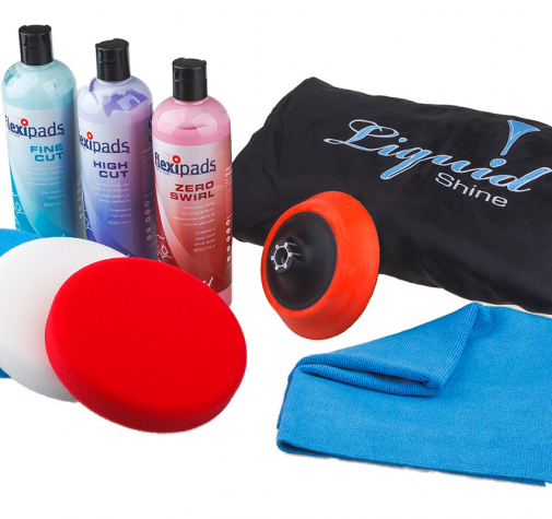 Starter Kit Liquid Shine / FlexiPads Набор: 3 пасты, 3 порол. круга, опорная тарелка, комбенизон